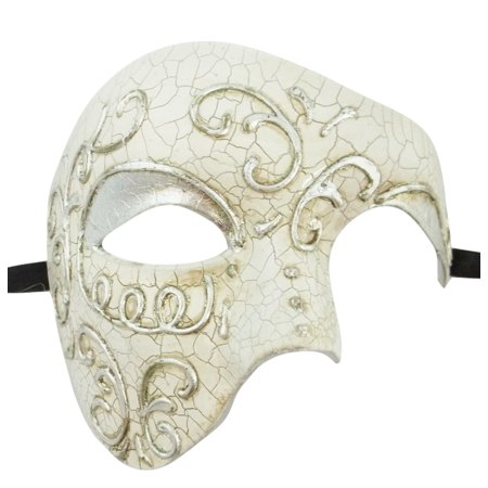 Large Mardi Gras Mask (Men's Phantom Silver Off White Cream Large Mardi Gras Masquerade Elegance)