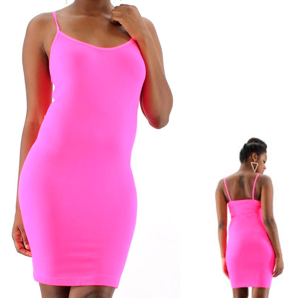 f28a4b4da20 AllTopBargains - Extra Long Seamless Tunic Dress Slip Camisole Layering Tank  Top Spandex One Size - Walmart.com