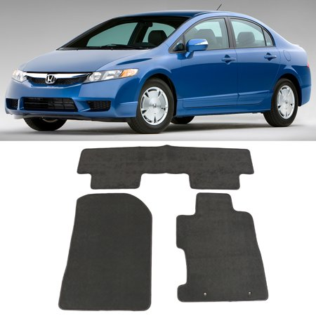 Fits 06-11 Honda Civic Floor Mats Carpet Front & Rear Gray 3PC - (Gray Carpet Floor Mats)