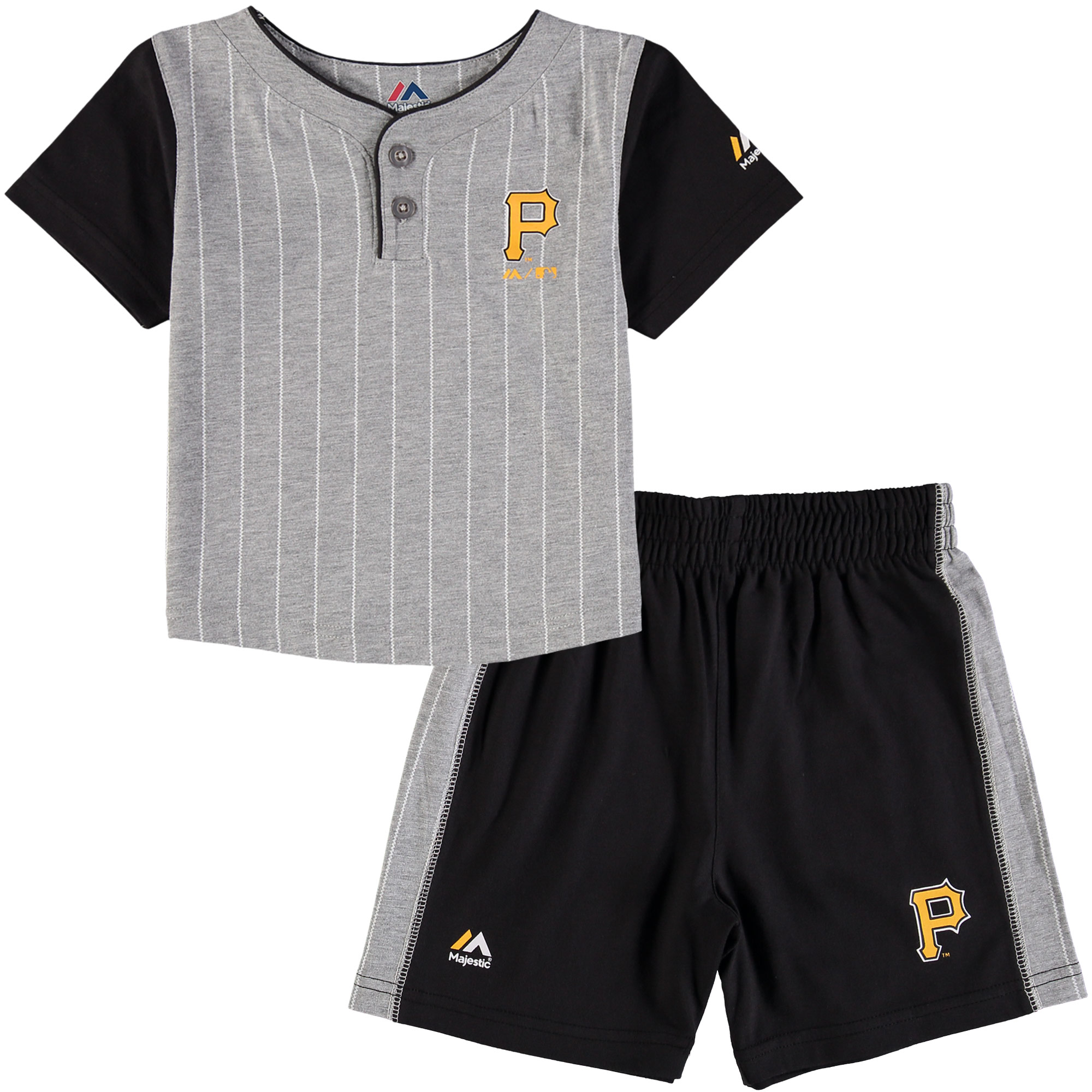 Pittsburgh Pirates Majestic Toddler Batter Up T-Shirt & Shorts Set - Gray/Black