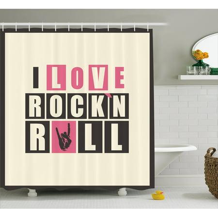 Rock Music Shower Curtain Retro Slogan Rockn Roll Abstract Grunge Vintage Design Elements