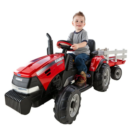 Peg Perego Case IH Magnum Tractor and Trailer 12-Volt Battery-Powered Ride-On