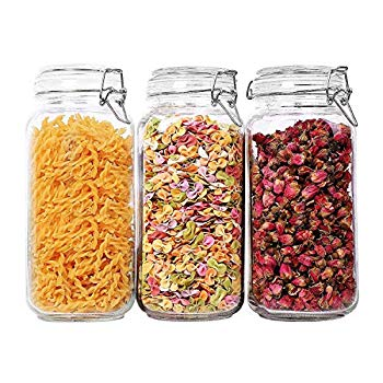 Airtight Glass Canister Set of 3 with Lids 78oz Food Storage Jar Square - Storage Container with Clear Preserving Seal Wire Clip Fastening for Kitchen Canning Cereal,Pasta,Sugar,Beans,Spice