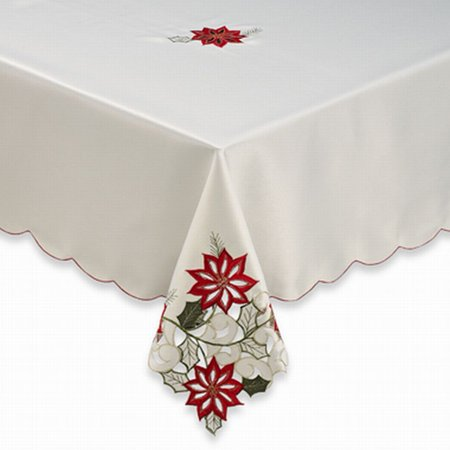 BB&B Poinsettia Path Fabric Tablecloth Cutout Flower Christmas Table Cloth 70 Rd - Christmas Table Cloth