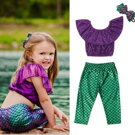3pcs Baby Girl Ariel Little Mermaid Tail Bikinis Costume Swimwear Outfits Set 1-2Year](Ariel Outfit)