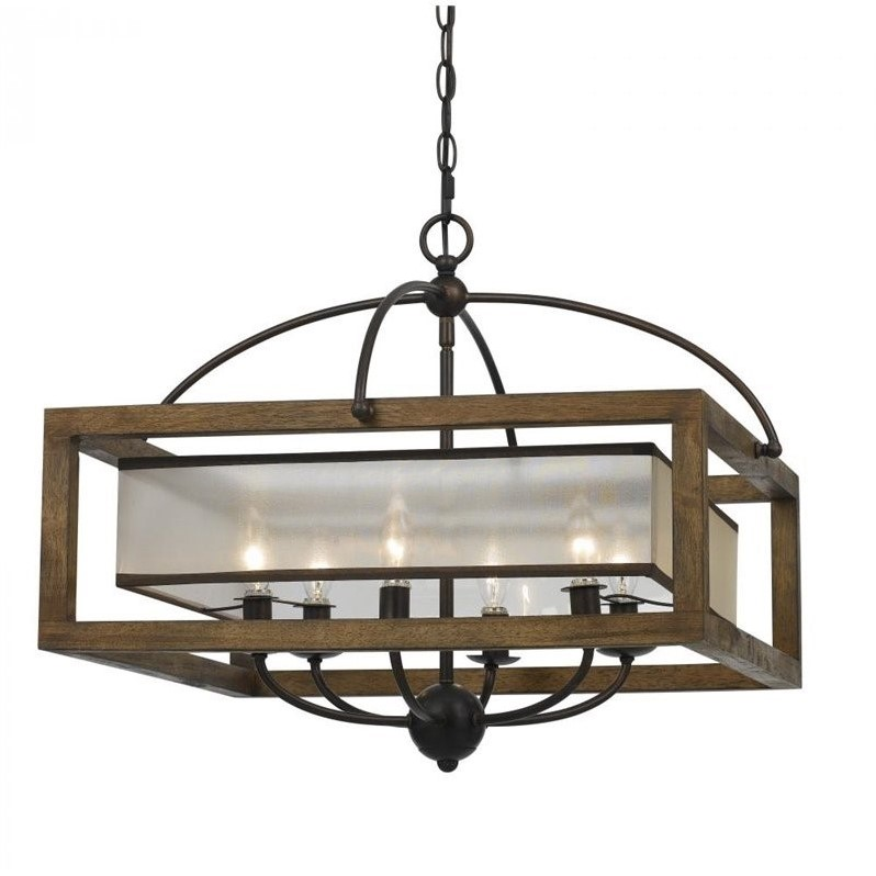 Cal Lighting Square Chandelier in Dark Bronze by CAL Lighting