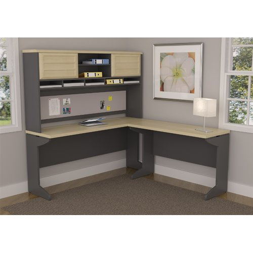Ameriwood Home Pursuit L-Shaped Desk with Hutch Bundle, Natural