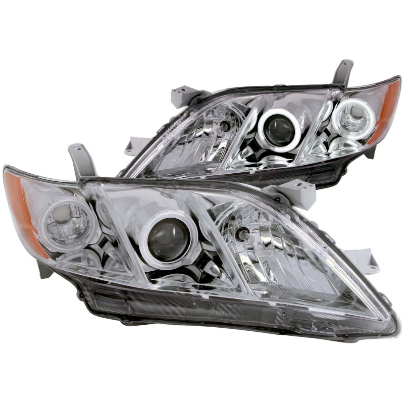 ANZO 2007-2009 Toyota Camry Projector Headlights w/ Halo Chrome