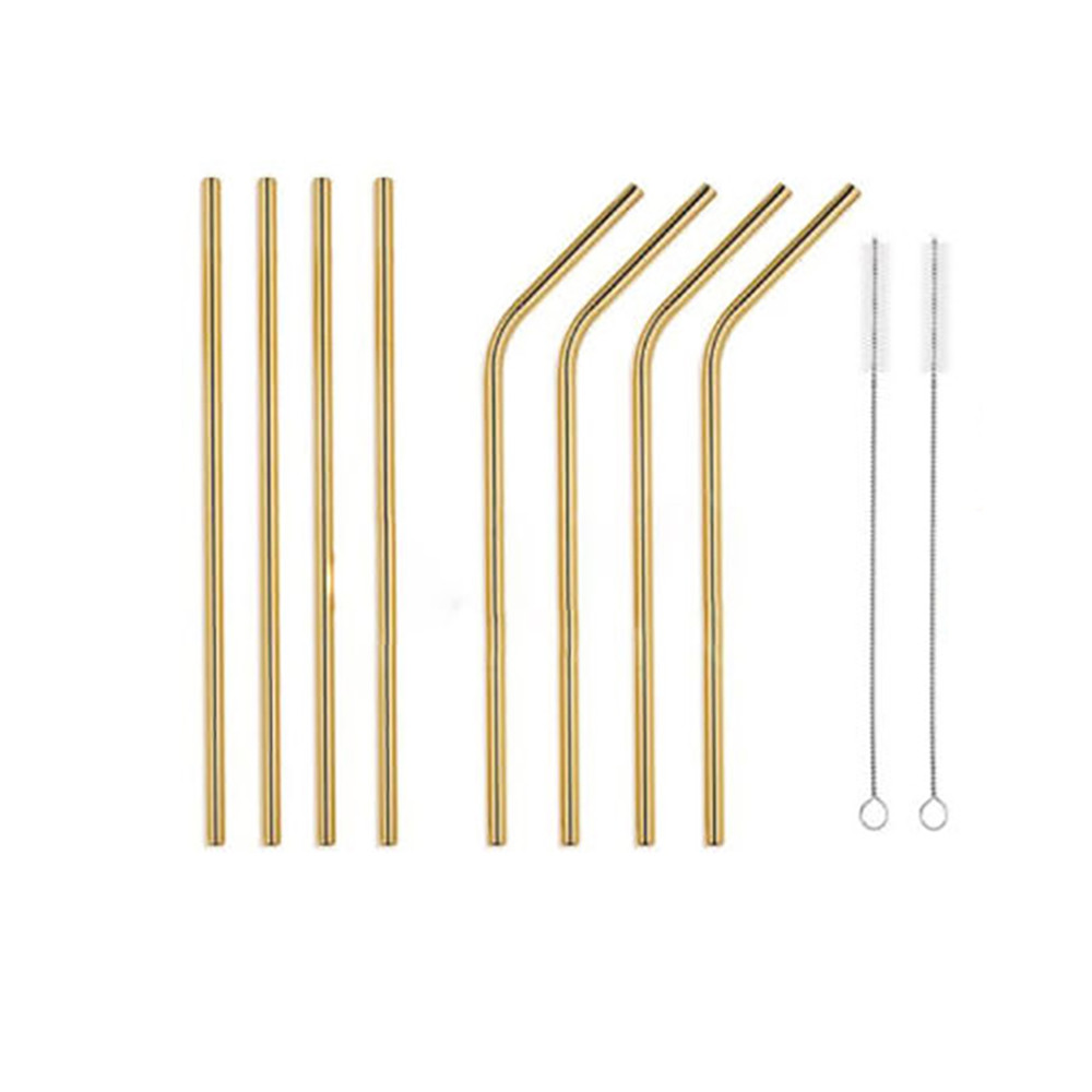 8PC Long Stainless Steel Drinking Straws 20 Oz/30 Oz Cups + Cleaning Brush