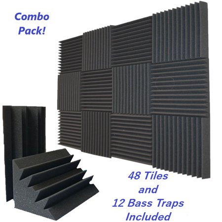 Combo Pack 48 Acoustic Foam Tiles & 12 Bass Trap Panel Studio Soundproofing Wall Tiles
