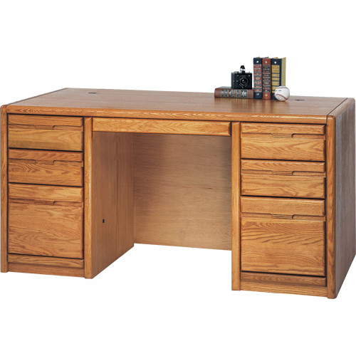 Martin Home Furnishings Medium Oak Double Pedestal Executive Desk