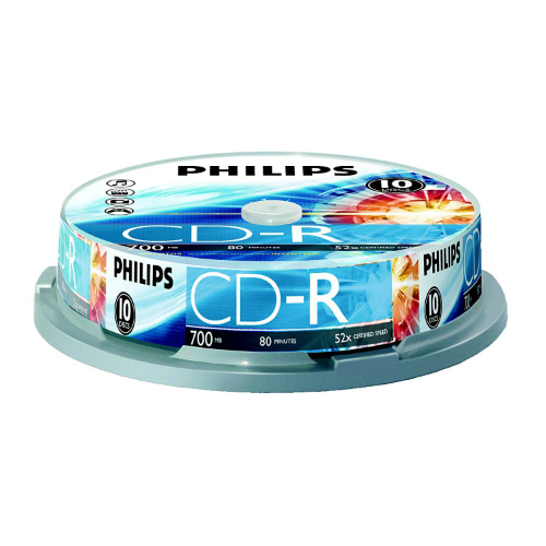 Philips CR7D5NP10/17 700MB 52x CD-Rs, 10-ct Cake Box Spindle