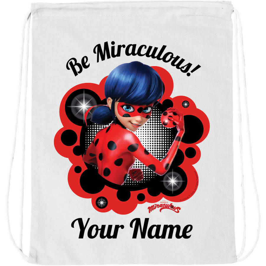 Personalized Miraculous Be Miraculous White Drawstring Bag