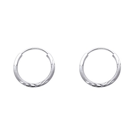 14k White Gold Small Round Endless Hoop Earrings Diamond Cut Polished Design Genuine 15 x 1.5 mm