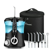 Water Flosser Teeth Cleaner, Ovonni Dental Water Pick Electric Oral Irrigator with 7 Jet Tips For Braces, Implants, Bridges, 10 Pressure Settings and 600ML Capacity for Whole Family Black