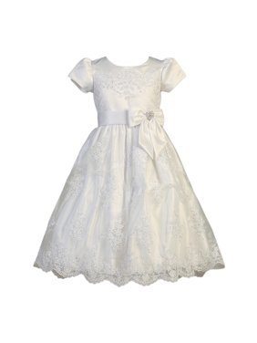bc9796360a4 Product Image Girls White Corded Tulle Sequin Satin Holly Communion Dress. Sophias  Style