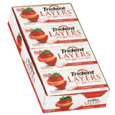 Trident Layers Sugar Free Gum Wild Strawberry & Tangy Citrus 12 pack (14ct per pack) (Sugar Free Strawberry Gum)