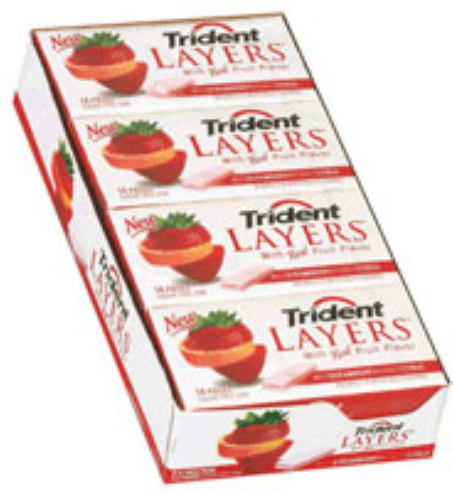 Trident Layers Sugar Free Gum Wild Strawberry & Tangy Citrus 12 pack (14ct per pack)