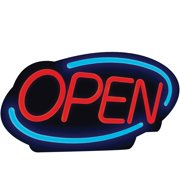 Royal Sovereign LED Open Business Sign, Red Lettering, Blue, 1 Each (Quantity)