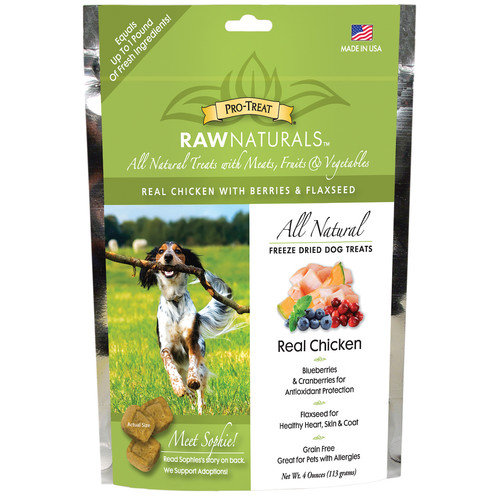 Pro-Treat Raw Naturals Freeze Dried Dog Treats, Real Chicken, 4 oz