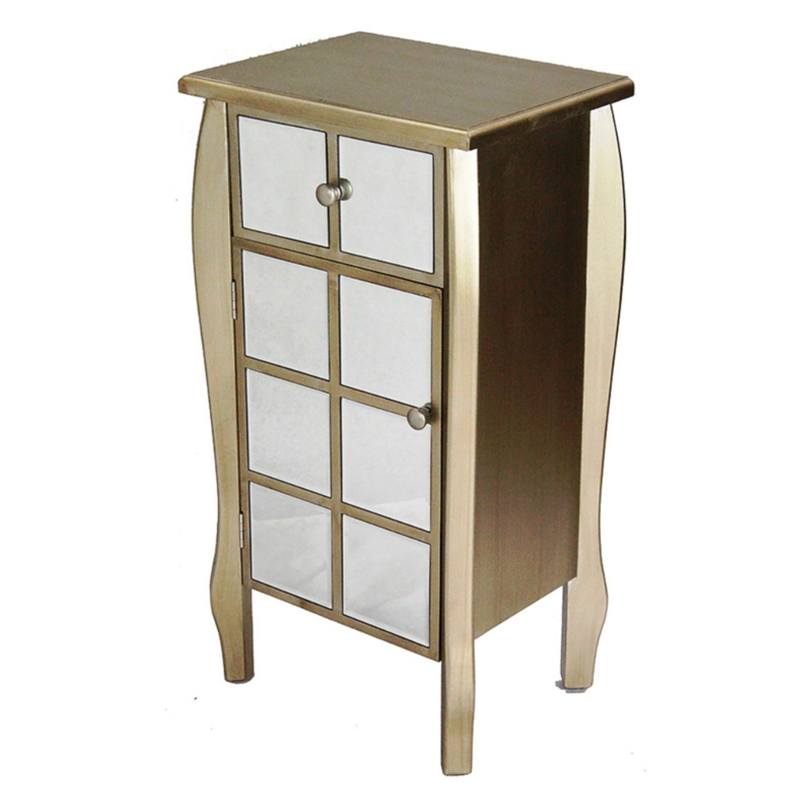 Heather Ann Creations Lana 1 Drawer 1 Door Mirrored Accent Cabinet