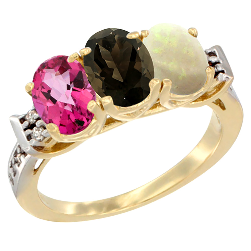 10K Yellow Gold Natural Pink Topaz, Smoky Topaz & Opal Ring 3-Stone Oval 7x5 mm Diamond Accent, sizes 5 10 by WorldJewels