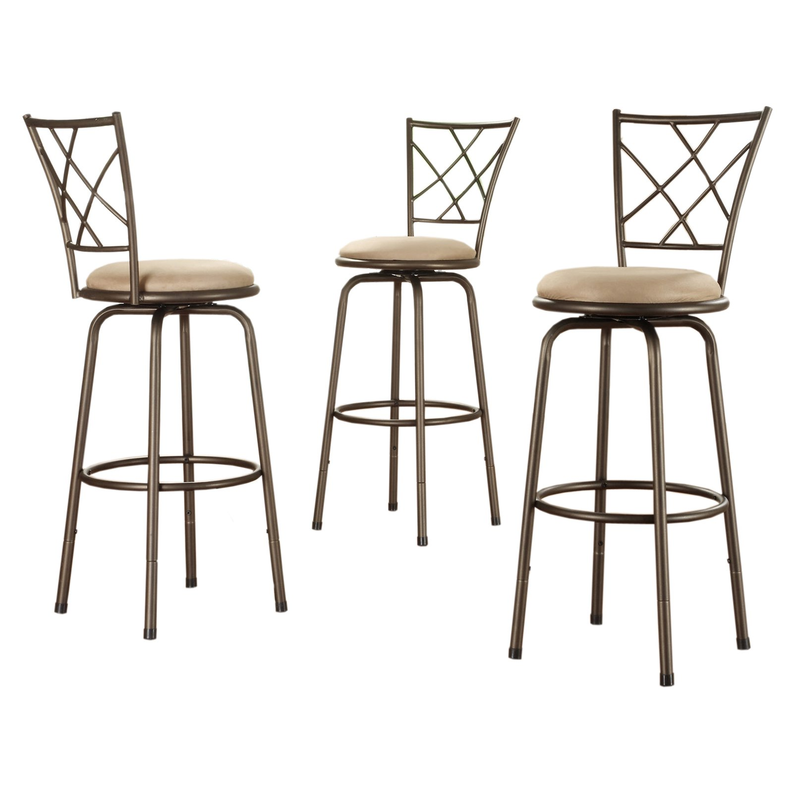 "Weston Home X-Back Adjustable Kitchen Bar Stools - 24"" to 29"", Set of 3 Bar stools"