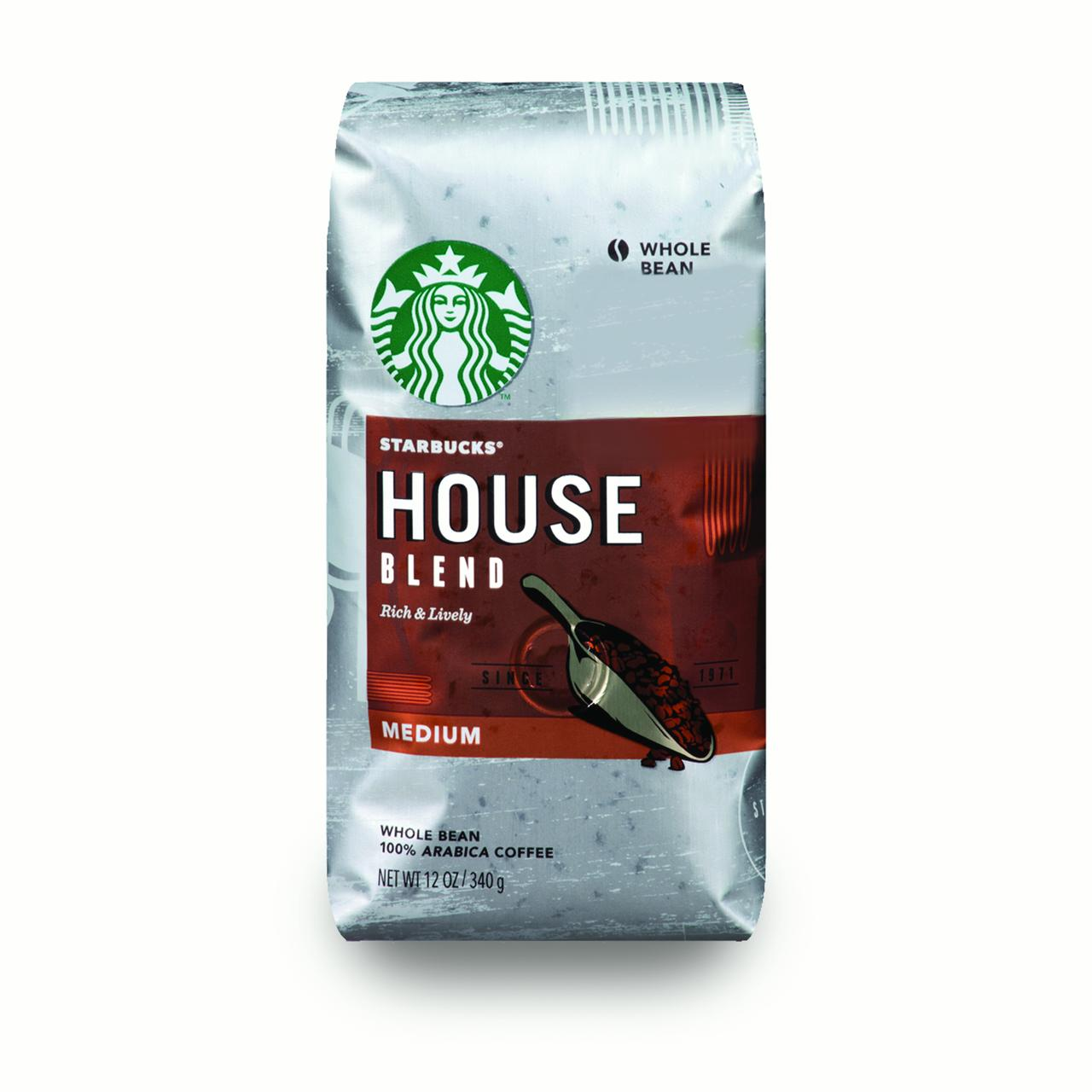 Starbucks House Blend Medium Roast Coffee, Whole Bean, 12-Ounce Bag