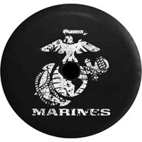 2018 2019 Wrangler JL US Marines Eagle Globe Anchor Crest Semper Fi Spare Tire Cover Jeep RV 32 InchBack up Camera