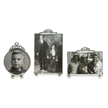 Set of 3 Vintage Inspired Silver Toned Brass Photo Picture Frames - Vintage Photo Frame