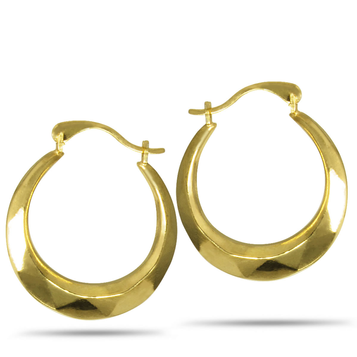 Gold Plated, Sterling Silver Faceted Round Creole Hoop Earrings