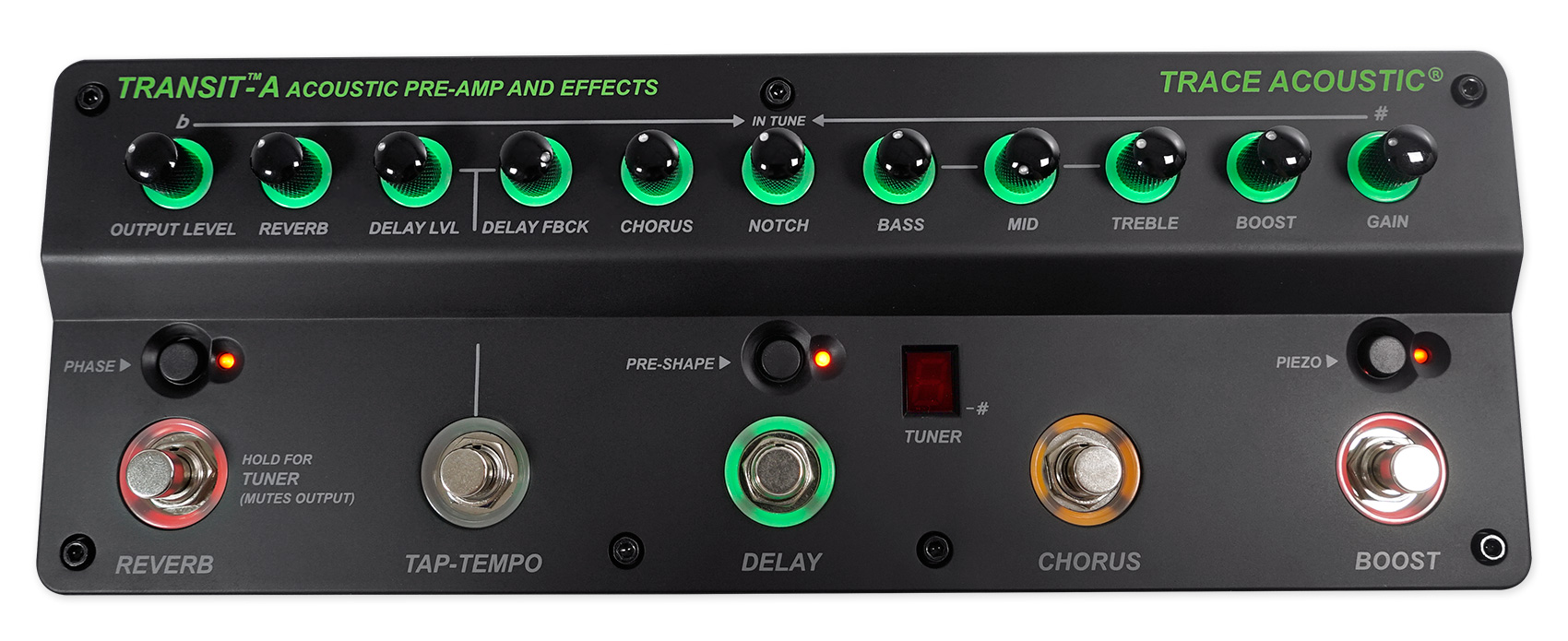 Trace Elliot Transit-A Pro Acoustic Guitar Preamp Pedal w  Effects+3-Band EQ by Trace Elliot