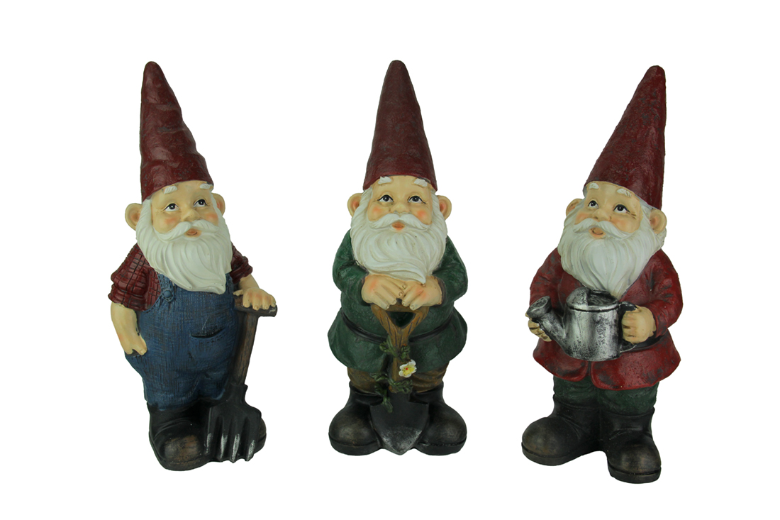 Set of 3 Hand Painted Gardening Gnome Garden Statues by TRANSPAC