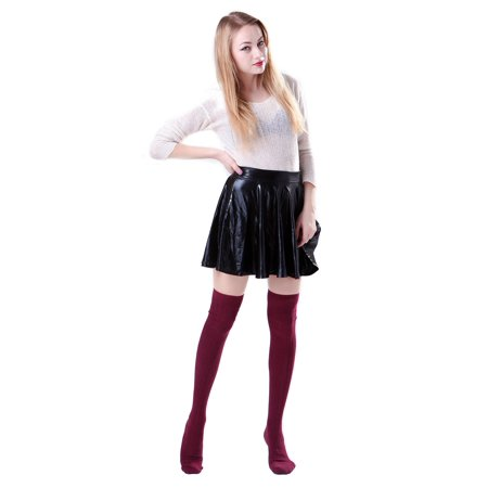 Womens Opaque Solid Color Cable Knit Over the Knee High Stocking Socks (Burgundy)
