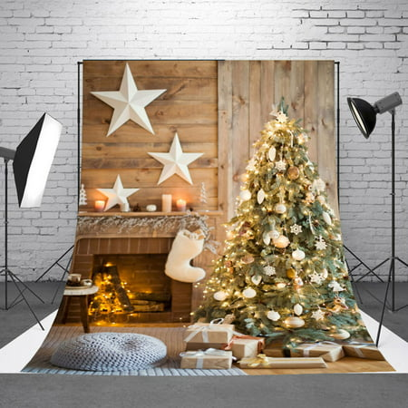 NK 5x7ft Christmas Fireplace and Tree Stove Sock Fireplace Gift Xmas Party Photograhy Christmas Backdrop for Pictures Dector Background Photo Studio - Photo Props For Christmas