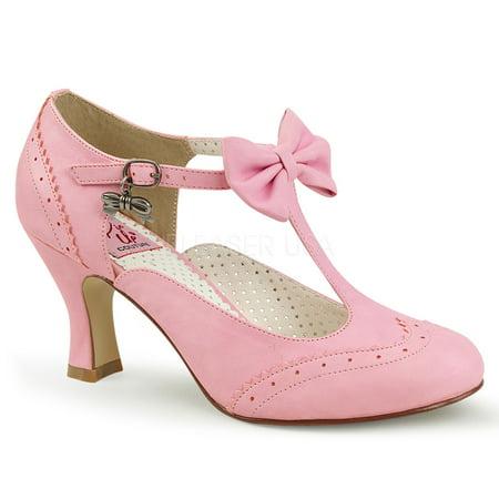 PIN UP COUTURE FLAPPER-11 Women's T-Strap Bow Details Kitten Heel Dress Pumps - Flapper Shoes Cheap