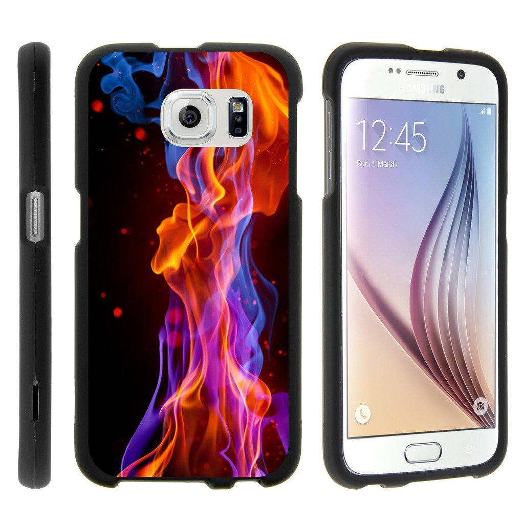 Samsung Galaxy S6 Edge G925, [SNAP SHELL][Matte Black] Snap On Hard Plastic Protector with Non Slip Coating with Unique Designs - Purple Red Flames