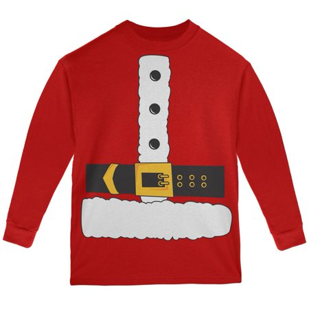 Santa Claus Costume Red Youth Long Sleeve T-Shirt - Red Santa Skirt