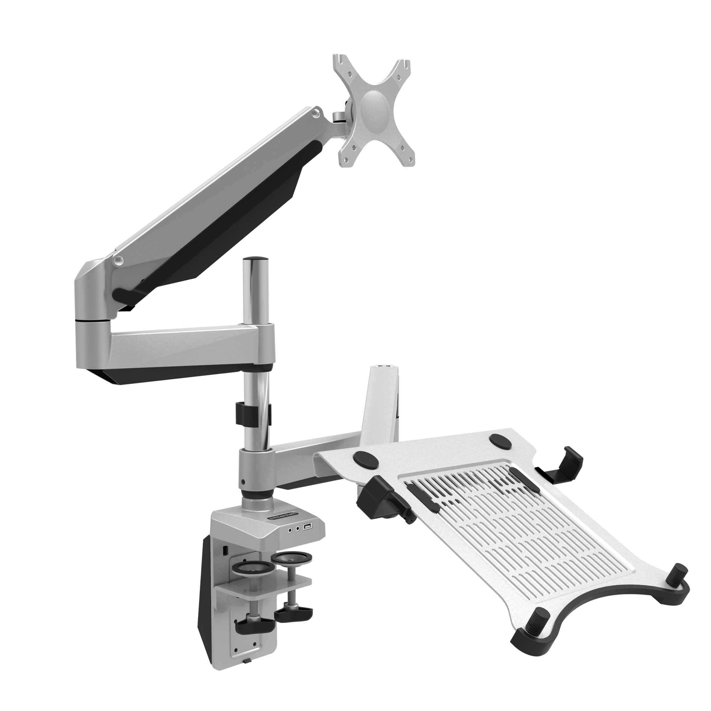 "Loctek D7DP Swivel Dual LCD Arm Desk Laptop Mount Monitor Stand Fits 10""-27"" Computer screen &10.1""-17.3"" Notebook Height Adjustable"