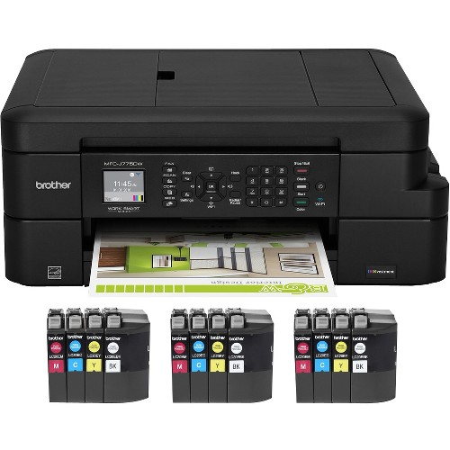 Brother MFC-J775DW XL Color Inkjet All-in-One Printer with 12 INKvestment Cartridges Included