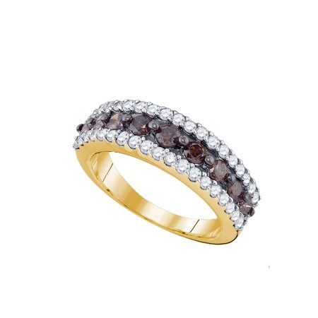 10kt Yellow Gold Womens Round Cognac-brown Colored Diamond Band Ring 1-1/2 Cttw