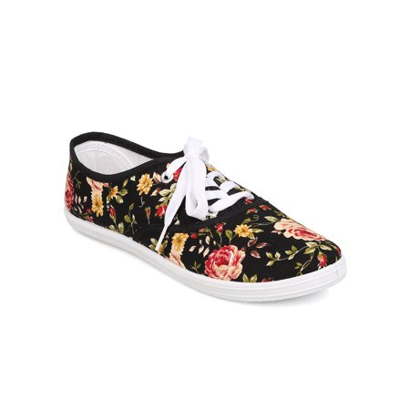 Refresh FA27 Women Canvas Floral Lace Up Flat Sneaker](Floral Sneakers Shoes)