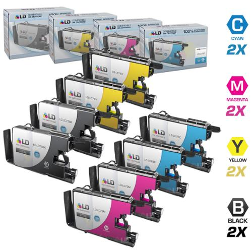 LD Brother Compatible LC75 Set of 8 HY Ink Cartridges: 2 each of LC75BK Black / LC75C  / LC75M  / LC75Y for use in the Brother MFC-J6510DW, MFC-J6710DW, MFC-J6910DW and MFC-J835DW Printers