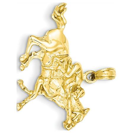 Leslies Fine Jewelry Designer 14k Yellow Gold Jockey on Horse (25x22mm) Pendant Gift
