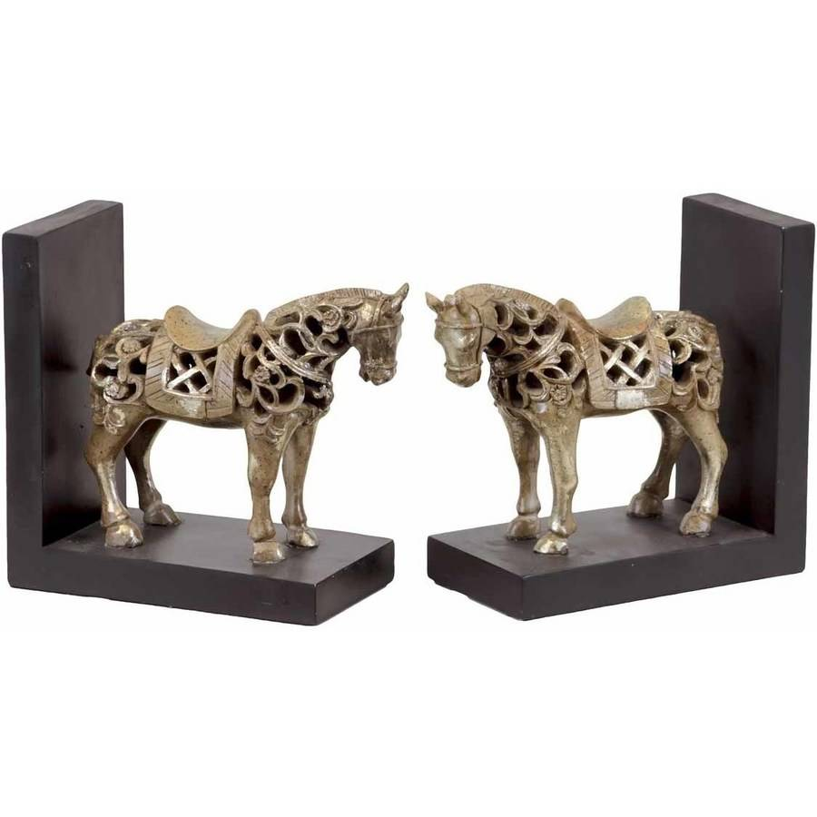 Urban Trends Collection: Resin Horse Bookend, Glaze Finish, Champagne