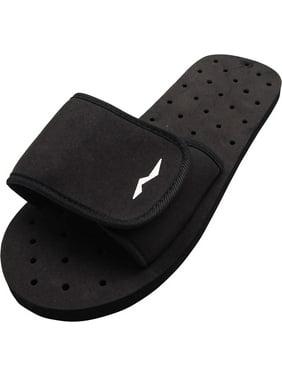 Norty Boys Mens Summer Comfort Casual Slide Strap Shower Sandals Slip On Shoes, 40339 Black / 6D(M)US