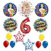 Wonder Woman 14 pc Superhero 6th Birthday Party Supplies and Balloon Decorations