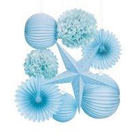 Darice Paper Party Decorations Kit, Light Blue, 8pcs