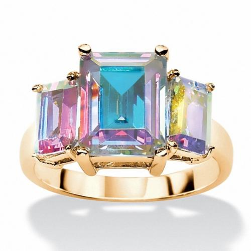PalmBeach 5.60 TCW Emerald-Cut Aurora Borealis Cubic Zirconia 3-Stone Ring 14k Yellow Gold-Plated Color Fun Size 6