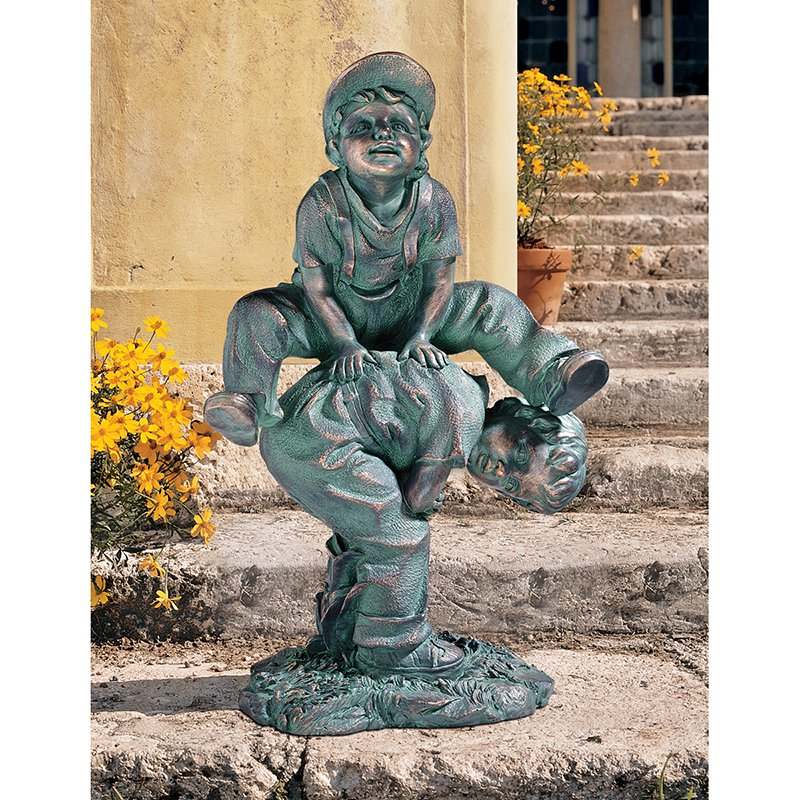Design Toscano Leap Froggin Playing Boys Garden Statue by Design Toscano